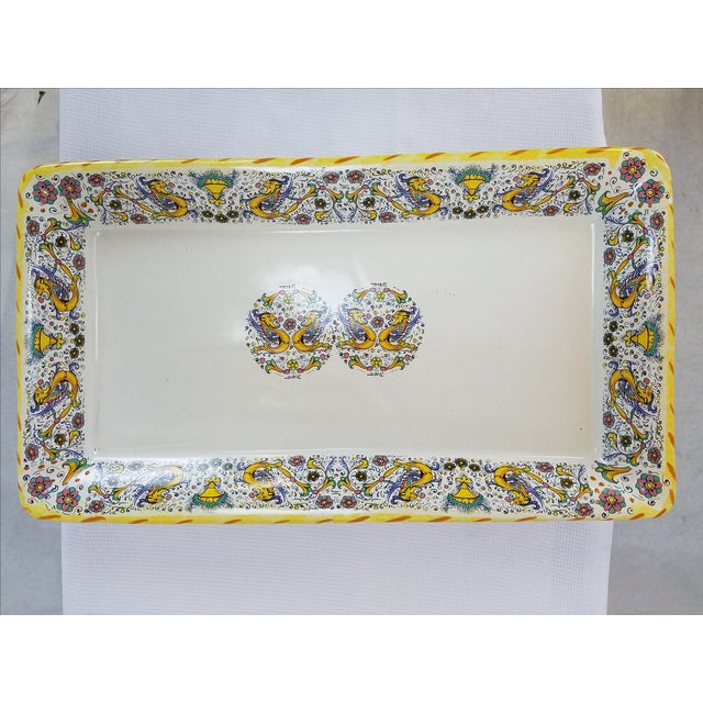 Vintage Italian Yellow and Blue Platter - Image 3 of 5