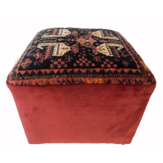 "Custom Made Antique Kurdish Rug Square Ottoman 17"" W by 16"" H For Sale"