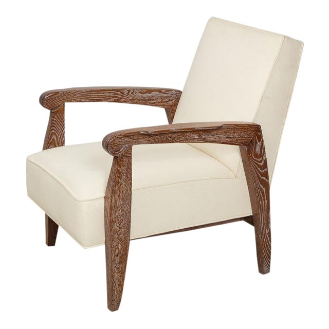 Custom Pair of Cerused Oak Lounge Chairs in the French 40s Manner For Sale