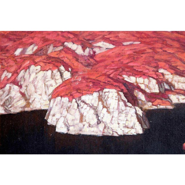 Chinese Abstract Oil on Canvas of Mountains and Seascape, Indistinctly Signed For Sale In Dallas - Image 6 of 13