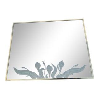 Vintage 1970s Ello Brass Tulip Design Mirror For Sale