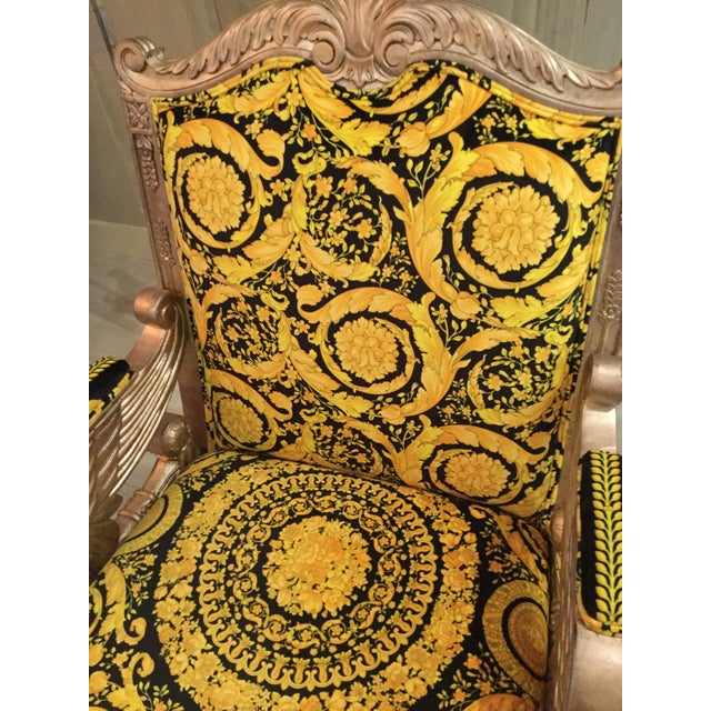 1960s Vintage Gianni Versace Black Gold Upholstery Throne Swan Chair For Sale - Image 9 of 13