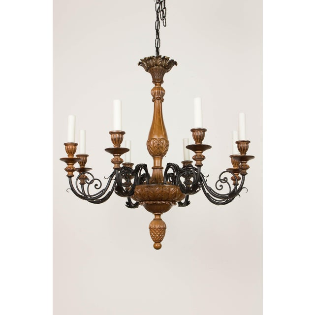 Iron & Wood Eight Arm Chandelier For Sale - Image 4 of 9