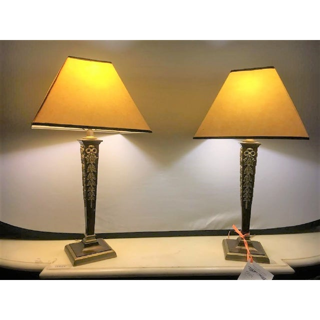 Brass & Steel French Table Lamps - Pair - Image 3 of 8