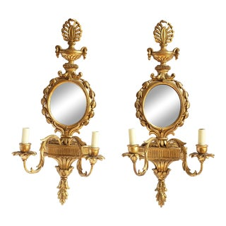 Vintage Decorative Crafts Inc Neoclassical Style Gilt Sconces- a Pair For Sale