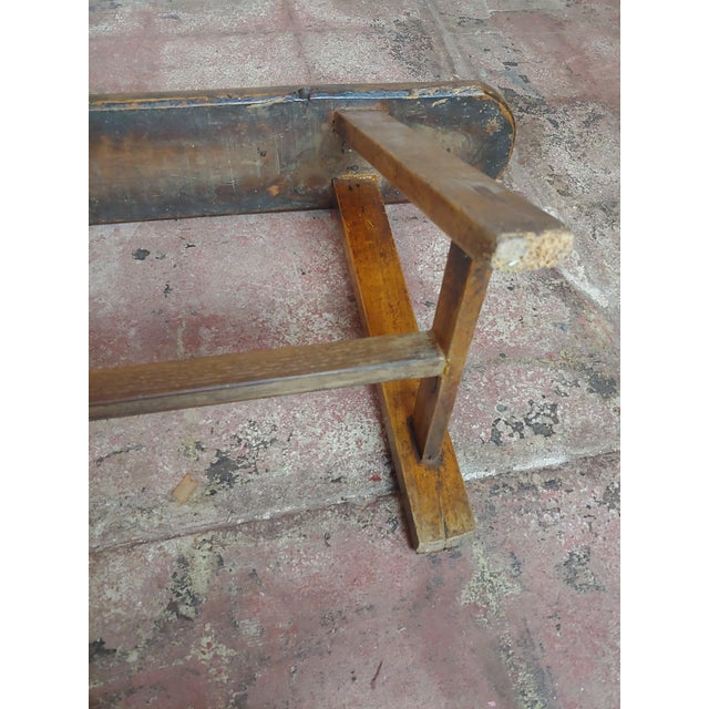 Wood 19th Century Antique Walnut Farm Bench For Sale - Image 7 of 11
