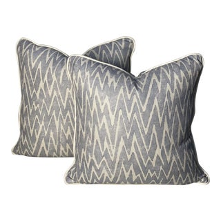 """Fret Fabrics """"Ziggety Zag"""" Pillows - a Pair For Sale"""