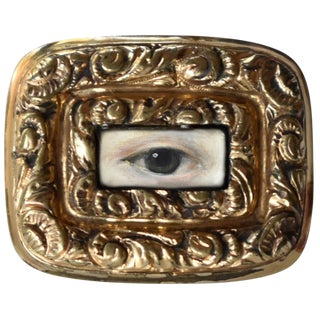 Early 19th Century Lover's Eye Georgian Gold Brooch For Sale