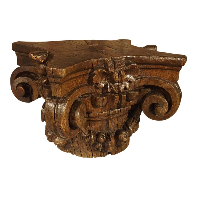 Small 18th Century French Oak Column Capital For Sale