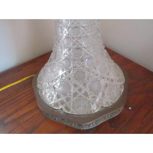 Mid-Century Modern 1970s Vintage Crystal Table Lamps With Shade - a Pair For Sale - Image 3 of 9