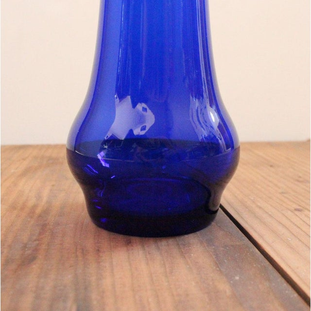 Mid 20th Century Vintage Cobalt Blue Art Glass Pitcher Attributed to Wayne Husted of Blenko For Sale In San Francisco - Image 6 of 8