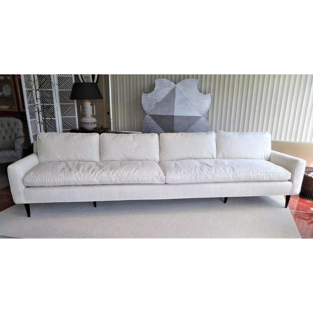 Extraordinary 1957 bespoke order from Singer & Sons for a Miami Beach residence, this Gio Ponti sofa has a great footprint...