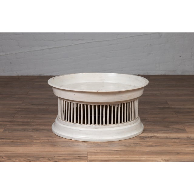 White Contemporary Thai Off-White Rattan Drum Design Coffee Table with Spindle Motifs For Sale - Image 8 of 13