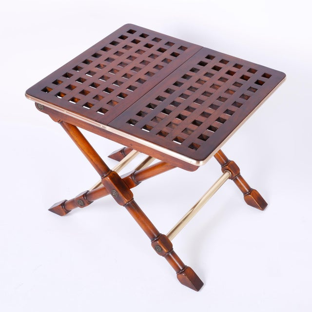 Mid 20th Century Yacht Style Folding Tables - A Pair For Sale - Image 5 of 10