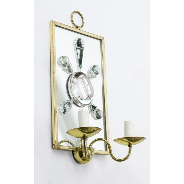 Contemporary Andre Hayat Pair of Rock Mirrored Crystal and Gold Bronze Pair of Sconces. For Sale - Image 3 of 5