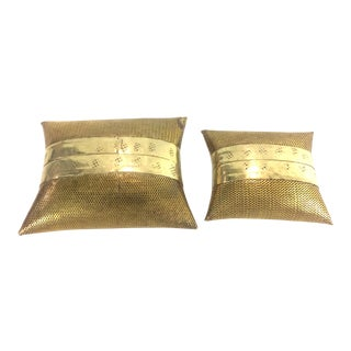 Vintage Mesh Brass Nesting Pillows - A Pair