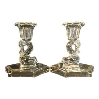 Vintage Westmoreland Clear Glass Dolphin Hexagonal Base Candlesticks - a Pair For Sale
