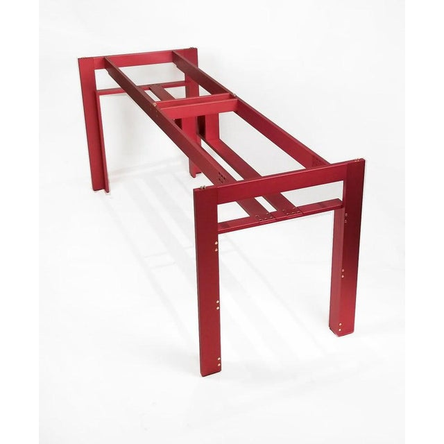 Red Carlo Scarpa Red Anodized Architectural 'Doge' Dining Table for Cassina Simon For Sale - Image 8 of 10