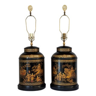 Tole Chinoiserie Tea Canister Lamps - a Pair For Sale