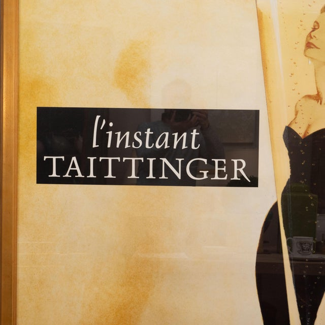 """French Oversized """"I' instant Taittinger"""" Champagne Poster For Sale - Image 3 of 8"""