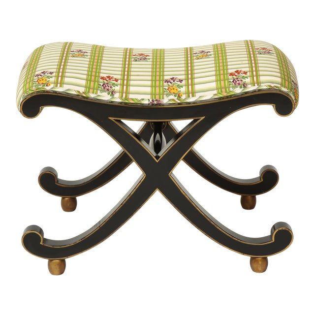 Colefax & Fowler Black and Gilt X-Form Bench For Sale