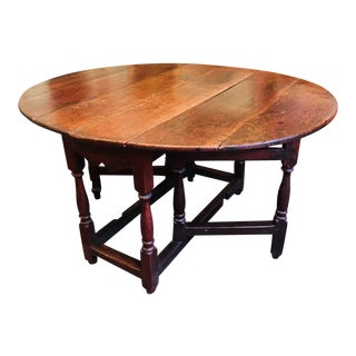 Antique 1700s Solid Oak William and Mary Gateleg Table For Sale