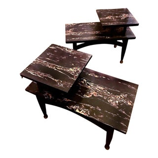 Mid-Century Modern Black Marble Formica End Tables - a Pair