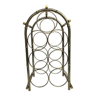 Vintage Brass-Tone Bamboo Style Wine Rack