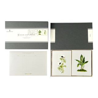 """""""Green & White"""" - Couplet Boxed Stationery - Folded Card Pair - Set of 10 For Sale"""