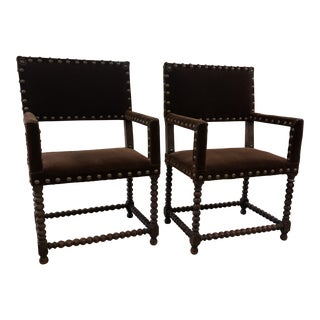Late 19th C. French Mohair Upholstered Chairs - a Pair For Sale