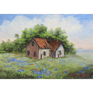 Small Rustic Farm House & Bluebonnets Painting For Sale