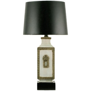 Neoclassical Crackle Glaze & Parcel Gilt Greek Key Table Lamp For Sale