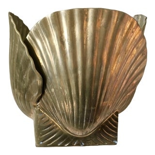 Vintage Mid Century Brass Clam Shell Planter For Sale