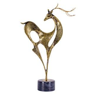 1988 Mid-Century Modern Curtis Jere Brass Deer Sculpture