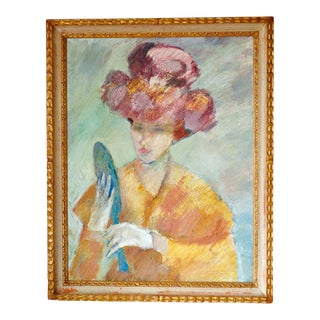 Vintage Mid-Century Whimsical Woman Oil on Canvas Painting For Sale