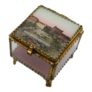 Antique French Eglomise Ormolu Glass Souvenir Box For Sale