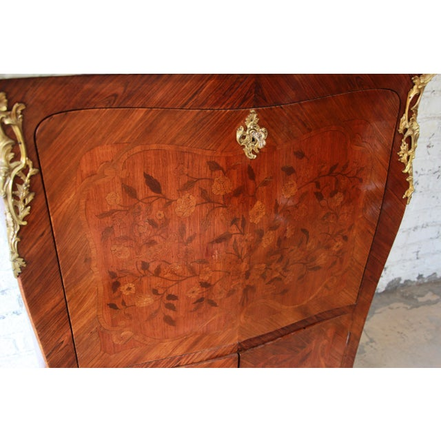 19th Century French Inlaid Marquetry Marble Top Abattant Secretaire For Sale - Image 9 of 13