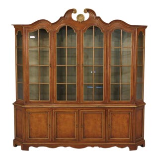Union National Cherry Walnut Finish Breakfront Bookcase For Sale