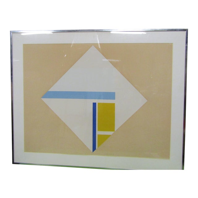 1960s Vintage Original Abstract Signed Serigraph Print For Sale