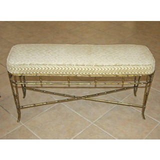 1950s Hollywood Regency French Bagues Style Faux Brass Bamboo Bench Preview