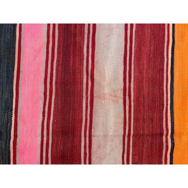 Vintage Moroccan flat-weave stripe Kilim rug. Large size blanket vintage Moroccan rug, handwoven by Berber women in...