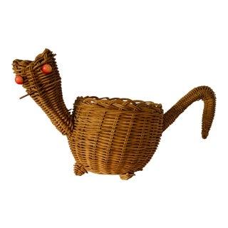 Mid Century Wicker Cat Basket For Sale