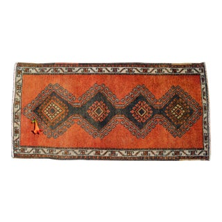 Small Rug Hand Knotted Distressed Oushak Rug Yastik Doormat - 21'' X 42'' For Sale