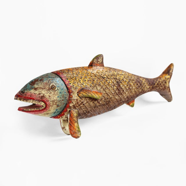 Vintage wood carved fish chairish for 94 1 the fish