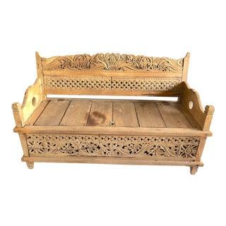 Vintage Carved Wood Asian Bench For Sale