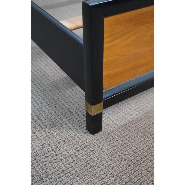 Tung Si Collection Ebonized Black & Teak Full Bed For Sale - Image 7 of 10
