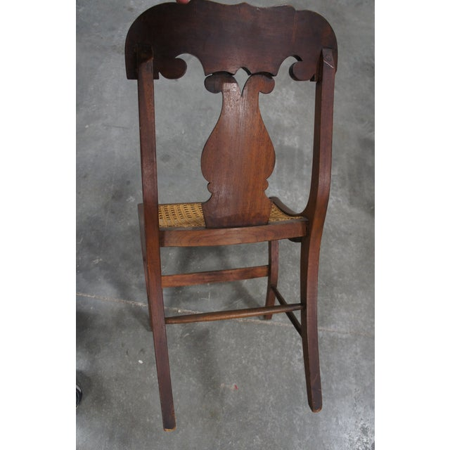 Mid 19th Century Antique Crotch Walnut Federal Empire Cane Seat Dining Side Chairs- Set of 4 For Sale - Image 10 of 12