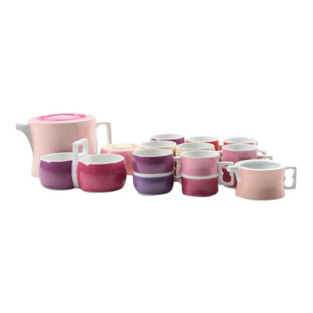 Vintage Block Chromatics Tea Set - Set of 12 For Sale