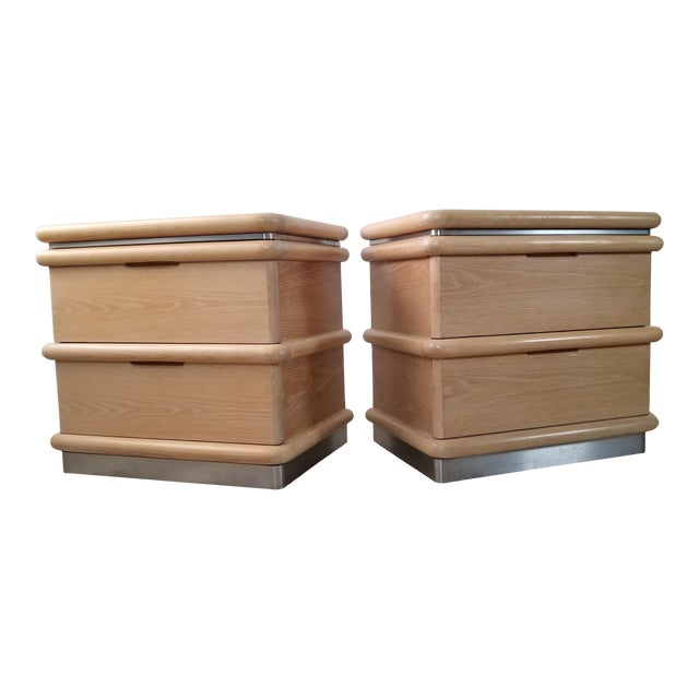 Postmodern Blonde Oak Nightstands by Jay Spectre - Pair. For Sale