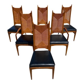 Cathedral High Back Woven Danish Modern Chairs Set of 6 For Sale